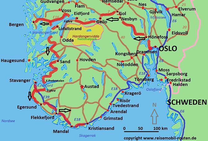 Karte Südnorwegen.Norwegen Route 2 Fjorde Und Fjelle Mit Dem Wohnmobil Auf